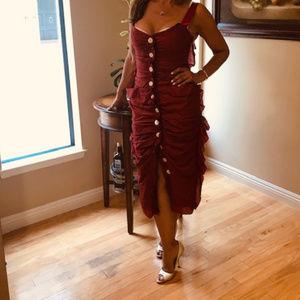 NWT Dolce Gabbana Run Way Couture Burgundy Dress